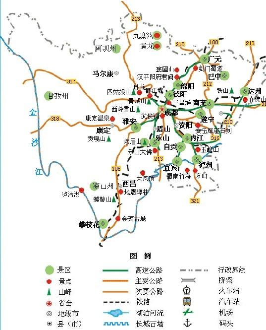 四川旅游地图展示